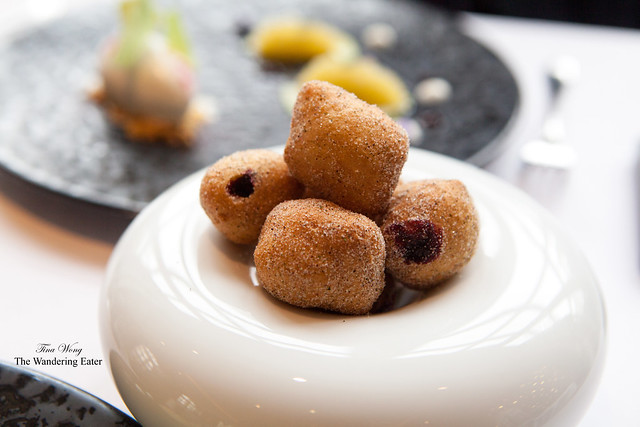 Doughnuts filled with blackcurrant jam