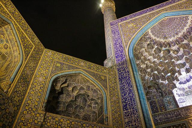 Imam mosque at night, Isfahan イスファハン、王のモスク
