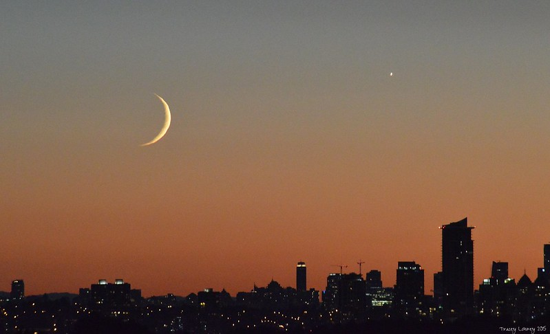 Sunset and the Crescent Moon