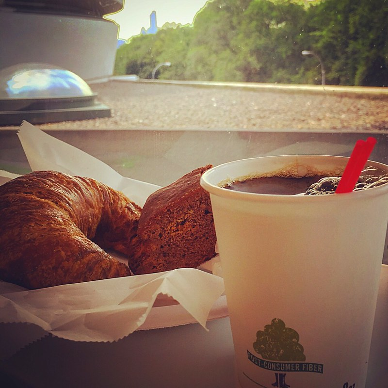 Coffee with Croissant and biscotti at Guggenheim Museum☕️