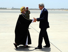 Secretary Kerry Is Greeted By Omani Foreign Minister Yussef bin Alawi bin Abdullah