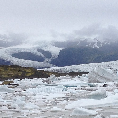 Misty #glacier and icebergs floating
