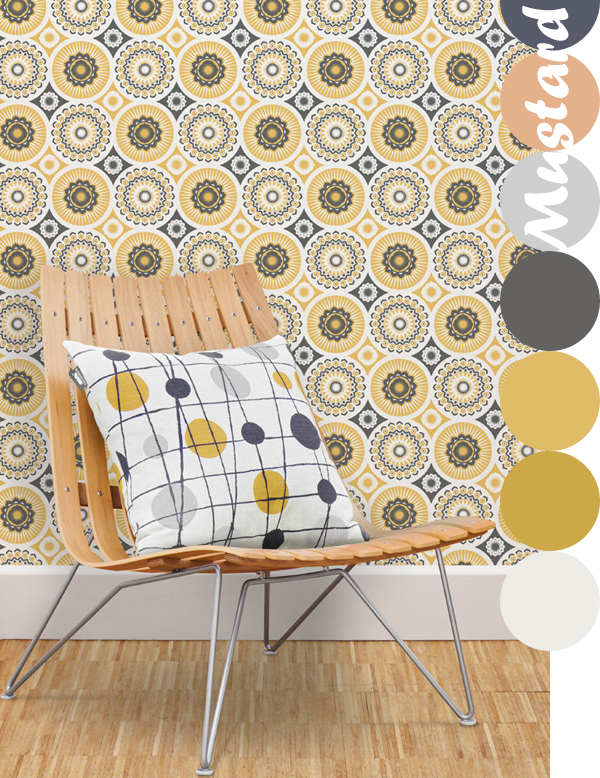 Mini Moderns, Darjeeling Wallpaper in Mustard | Emma Lamb