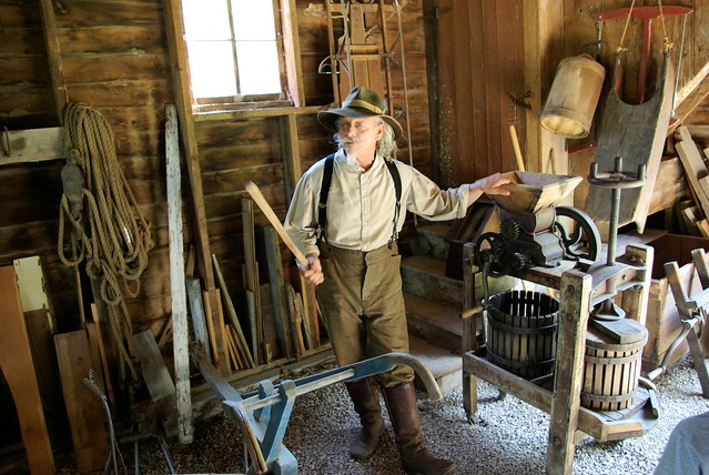 Costumed interpreter in the role of a farmer at Historic Forestvillle State Park, Minnesota – June 14, 2007