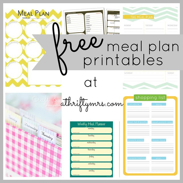 Free Meal Plan Printables  A Thrifty Mrs