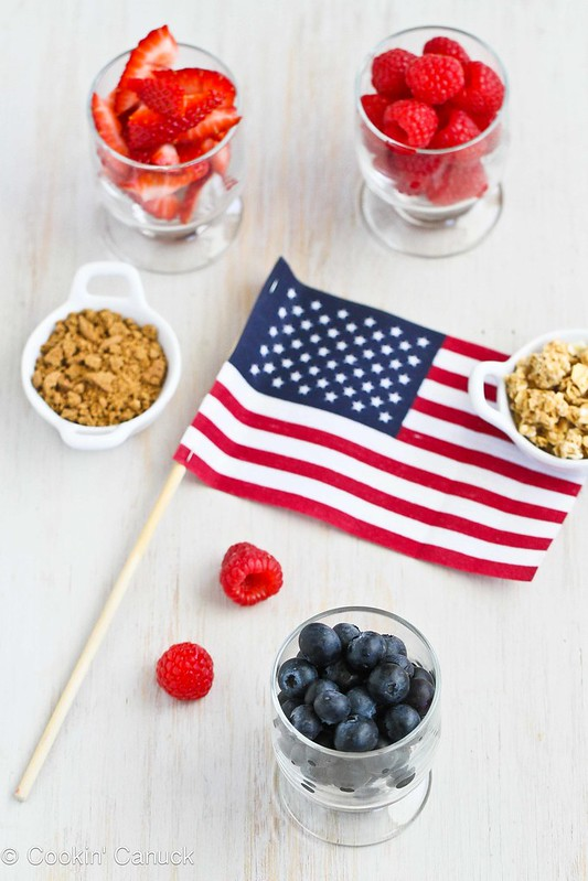 Triple Berry Gingersnap & Granola Yogurt Parfait Recipe | cookincanuck.com #recipe #4thofJuly #CanadaDay