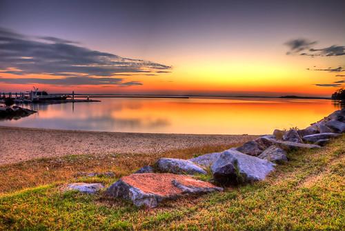 sunset orange nature marina boat rocks tripod ngc hdr 2012 jamesriver exposures kingsmill canon5dii nicolaibba