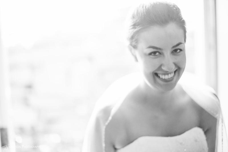 Bride smiling wedding day