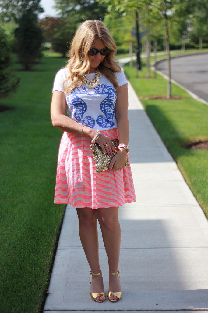 JCrew Seahorse Tee Striped skirt outfit