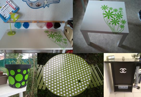 Découvrez divers réalisations de stickers personnalisés pour la customisation de meubles ou d'objets décoratifs.