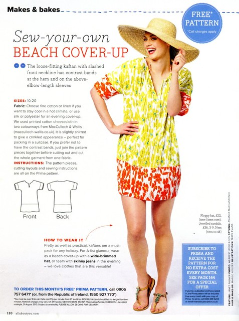 Sew, incidentally...: PRIMA Pattern, August 2013 - Kaftan Beach Cover-Up