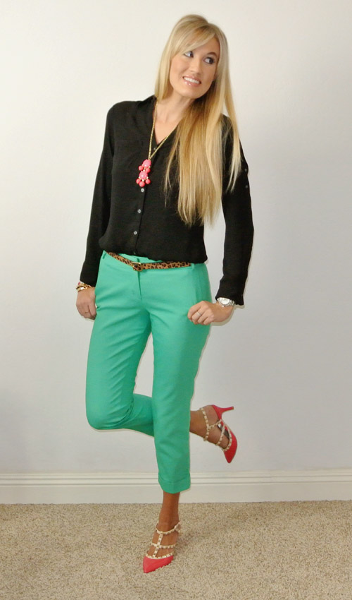 outfit: black-green-pink pop