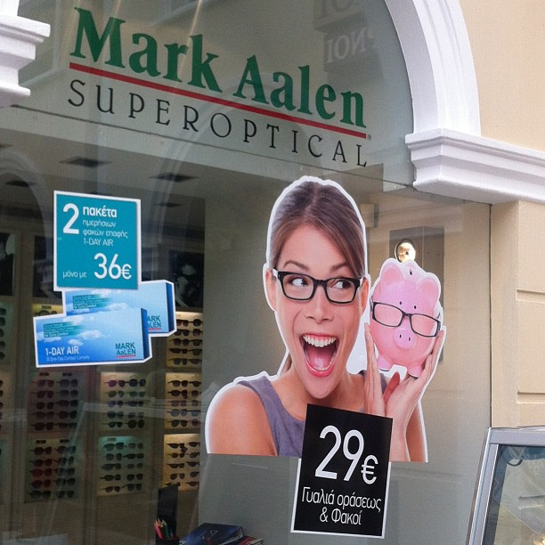 Overexposed Model in an optician ad in Athens, Greece.