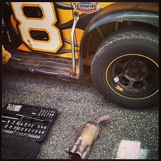 Not the best way to start the night off... #8 #uslegends #raceday #mufflerissues