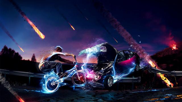 столкновения велосипеда и машины