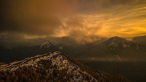 autumn mountains clouds sunsets