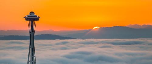 Space Needle in Cloud, Seattle, Washington