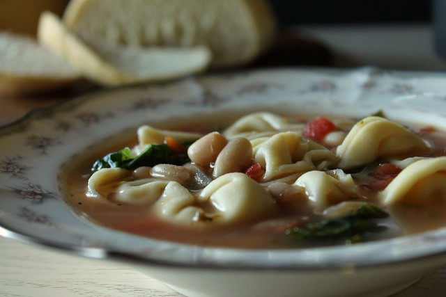 Tortellini, kale, and white bean soup