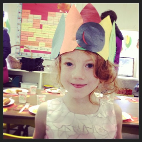 At her preschool Thanksgiving feast. #latergram #thegirl #thanksgiving