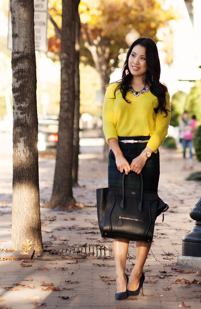 cute & little blog | neon yellow sweater, tartan plaid j. crew factory pencil skirt, silver belt, flower statement necklace outfit | fall trend