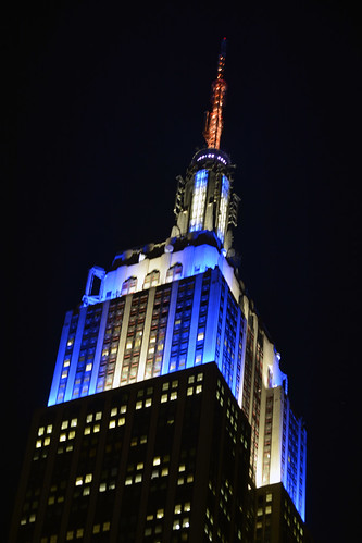 Picture Of The Empire State Building Lit Up In (Blue/White/Blue) In Honor of Chanukah (November 29 - December 4, 2013). Photo Taken Tuesday December 3, 2013