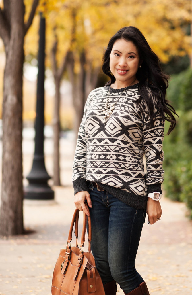 cute & little blog | aztec tribal print sweater, frye melissa riding boots outfit