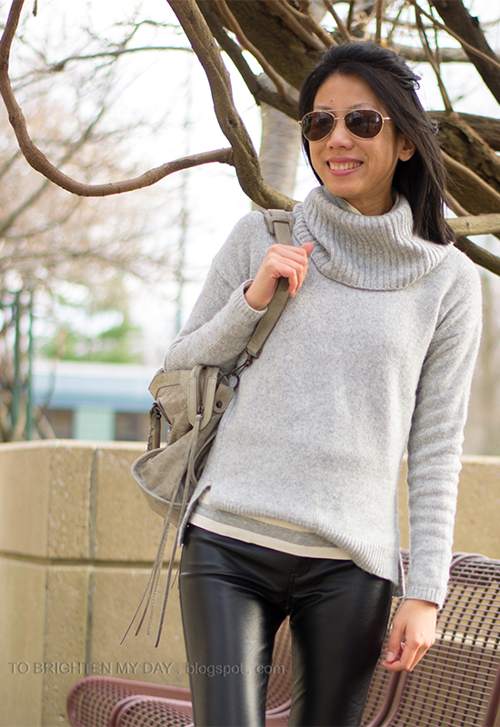 gray cowlneck sweater, striped turtleneck, faux leather pants