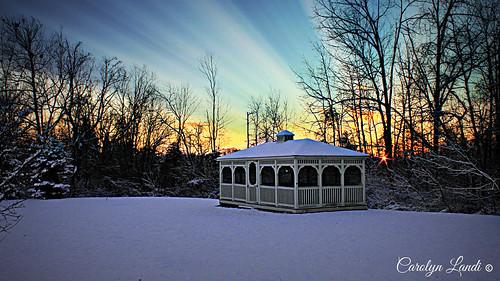trees winter sunset sun snow nature forest landscape woods natural pennsylvania gazebo pa snowfall whitehall allentown lehighvalley southwhitehalltownship crackersport