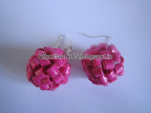 Handmade Jewelry - Paper Quilling Globle Earrings (Dark Pink - H) (4) by fah2305