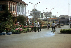 My Tho 1972 - Tet Holiday - Street parallel to the river. Chu Long restaurant to the right