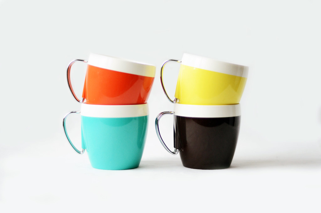 Four Vintage Color Block Mugs with Metal Handles