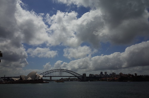 Sydney harbour bridge and the Opera house from Mrs. Macquarie's point