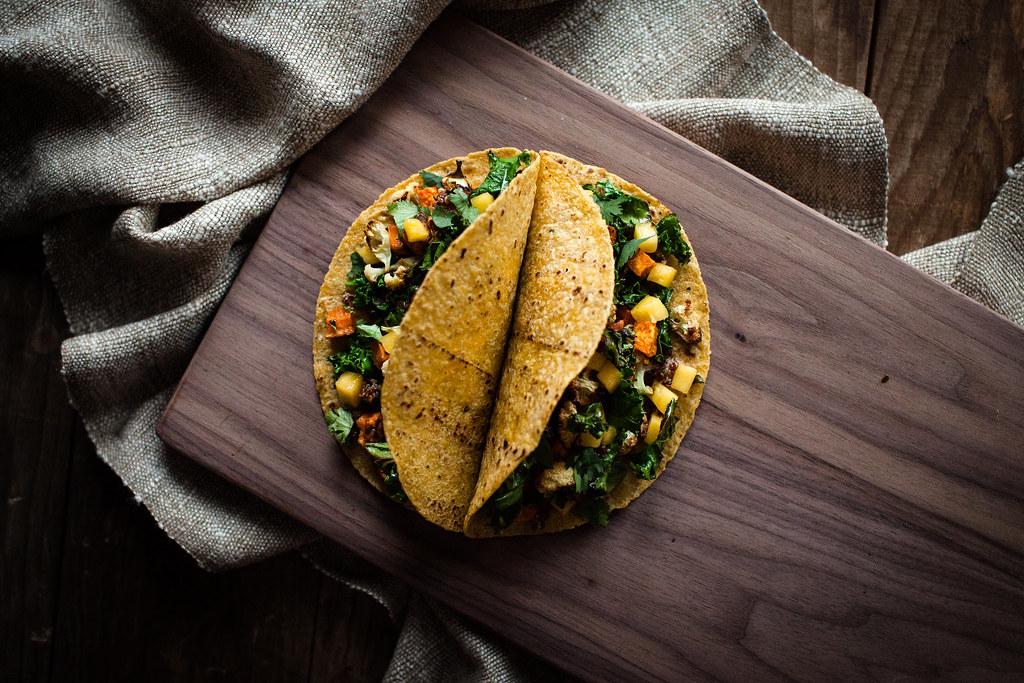 Roasted Veggie & Sriracha-Lime Quinoa & Amaranth Tacos