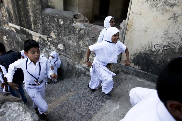 Kids happily visiting Golconda