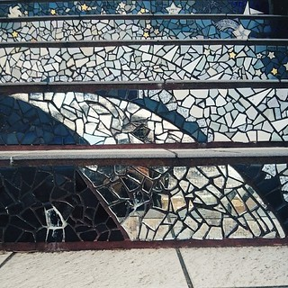 #sundayselfie.... Sort of  Taking a break while climbing the mosaic stairway to the Grandview Park.... #sf #sanfrancisco #stairs #stairway #mosaic #grandviewpark #turtlehill #perspective #ceramic #tiledsteps #art #streetart #innersunset #sunsetdistrict #c