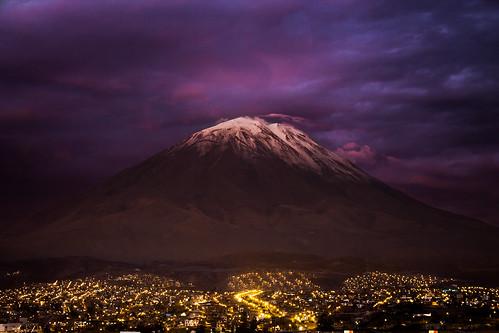sunset peru volcano arequipa misti