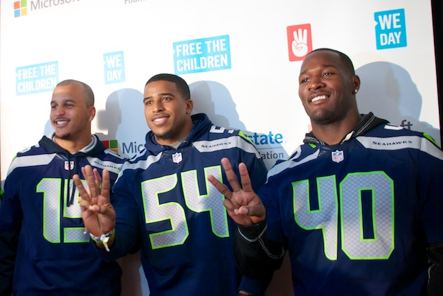 Seahawks Jermaine Kearse, Bobby Wagner, Derrick Coleman at We Day Seattle