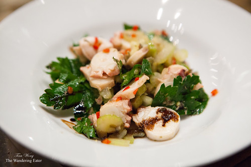 Octopus salad, parsley, green olive, capers, red pepper, lemon zest, olive oil, lime juice by Ed McFarlane of Ed's Lobster Bar