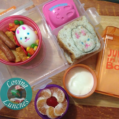 Loving my little Honey Bunny's lunch today… #repurpose the egg mold as a sandwich stamp and snack container. It's holding carrot sticks and dip. Milk in our @boardwalkimports #juiceinthebox