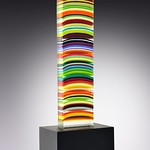 Helen Rudy; Monolith; Fused glass and metal stand; 37x11x8 -
