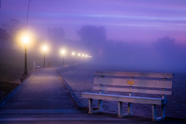 Boardwalk, Algoma, WI, Bench, Fog, Mist, Foggy, Misty, Blue
