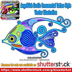 Uploaded & SOLD! #Angel #Fish #Ornamental #Tattoo #Style #Vector #Illustration :fish: #BluedarkArt_Copyright :fish: #Licenses #4sale on #Shutterstock > https://m.shutterstock.com/images/606548348 :fish: @shutterstock :fish:  #vectorillustration #vectorgra