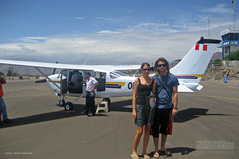 Anna and Simon preparing for their flight over the 'Nazca Lines'.