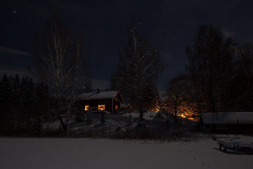 winter snow night landscape photo sweden sverige virå södermanlandslän virlången korsgölet