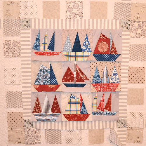 Sailboat quilt in progress