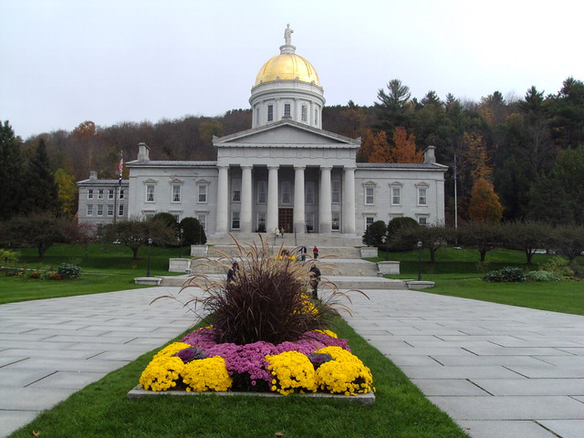 Montpelier and Vermont State House with gold dome
