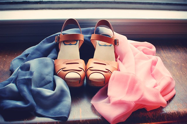 Shoes and scarf.