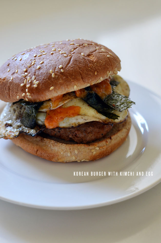 korean burger with kimchi and egg