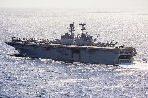 USS Bonhomme Richard (LHD 6) sails through the Coral Sea