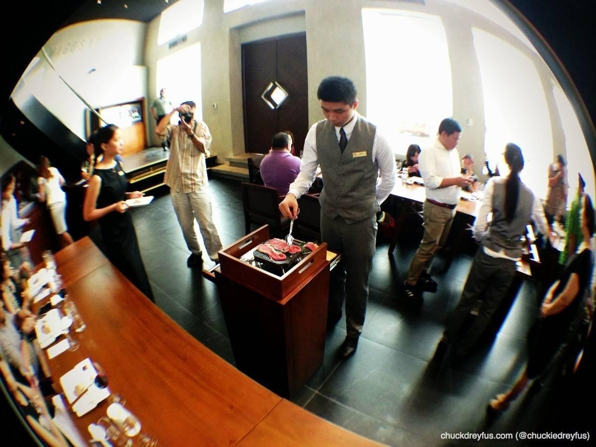 Cooking the Japanese Wagyu Chuck Roll Yakishabu